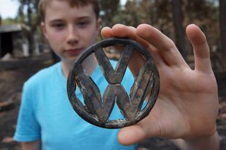 Burned VW Medallion M6-13